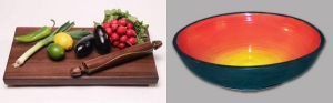 Jerry Hollon Cutting Board and J.D. Schall Serving Bowl