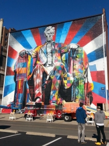 Lexington's Abraham Lincoln mural was completed in November 2013 by Brazilian artist Eduardo Kobra and his team.