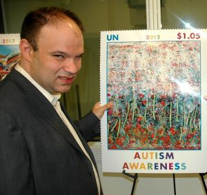 Trent is being honored at the United Nations. The stamp poster using his painting, An Abstract Garden
