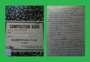 "The cover of my notebook and a page showing a draft of ""Where I'm From."" I see on the cover that I was also writing ""Here and Then,"" a Civil War time travel novel here, too."